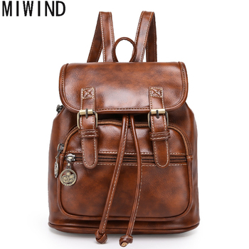 High Quality Vintage Fashion Casual Leather Women Men Backpack for Teenage Girls Fashion Large School Bags mochila TLP1507