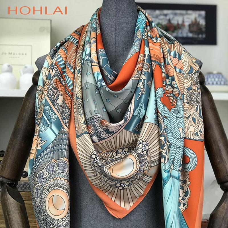 Fashion Design Square Silk Scarf Women Foulard Printed Bandana Ladies Shawl Hijab Elegant Headband Ring Scarves Wraps 130*130cm