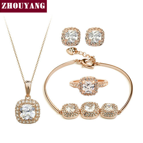 Top Quality ZYS172 Rose Gold Color Elegant Wedding Jewelry Necklace Earrings Ring Blacelet Set Made with Austrian Crystals