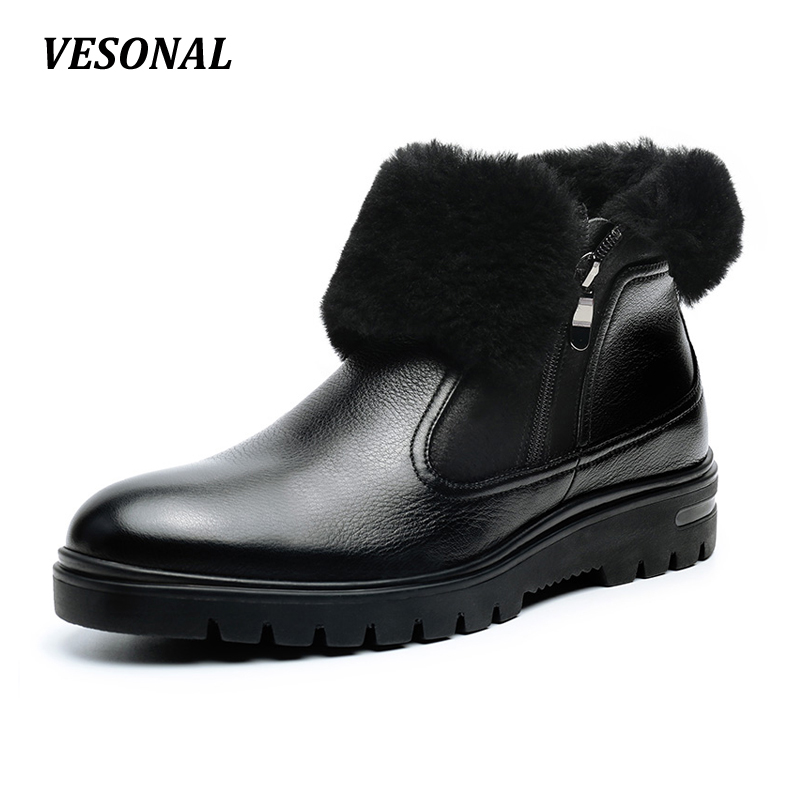 VESONAL winter 100% Genuine Leather Cow Sheepskin Wool-One Patchwork Snow Boots Men Shoes Side Zip Warm Fur Mens Ankle Boot blaibilton new autumn winter 100% genuine leather cow sheepskin wool one patchwork snow boots men shoes warm fur mens ankle boot