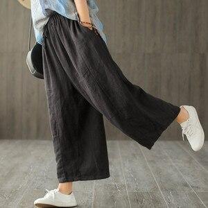 Image 3 - Johnature 2020 新コットンカジュアル足首の長さのリネンルーズ女性パンツファッション春夏ウエストゴムワイド脚パンツ