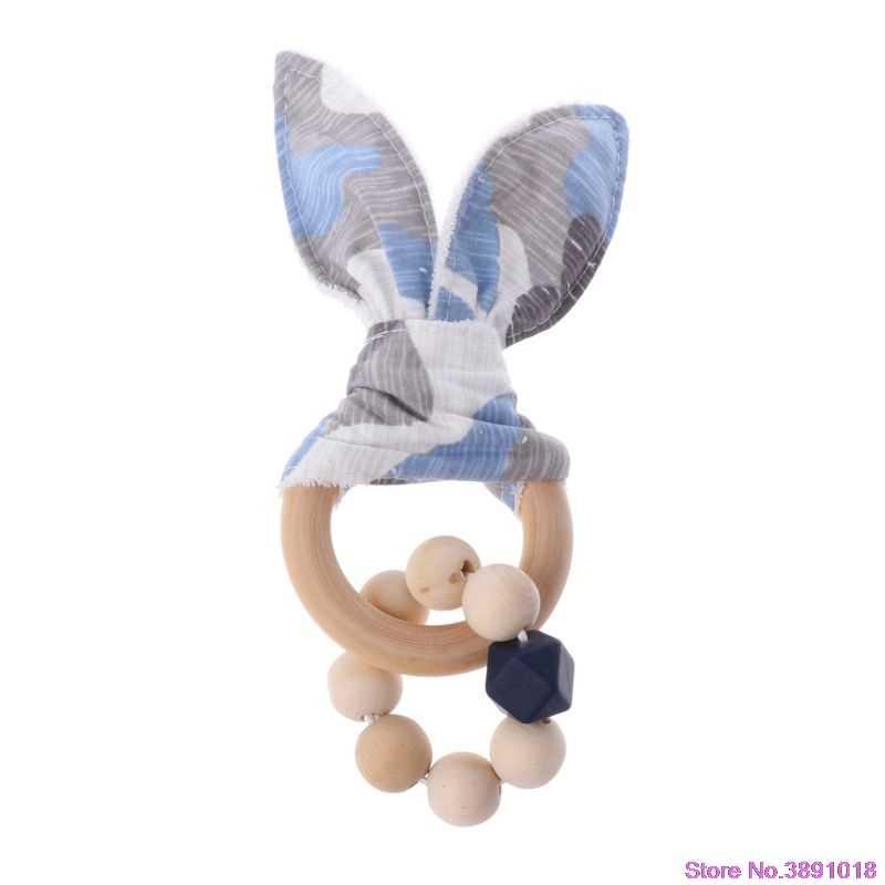 Natal Bayi Kelinci Telinga Teether Aman Organik Kayu Tumbuh Gigi 7 Pilihan Warna Hadiah Shower