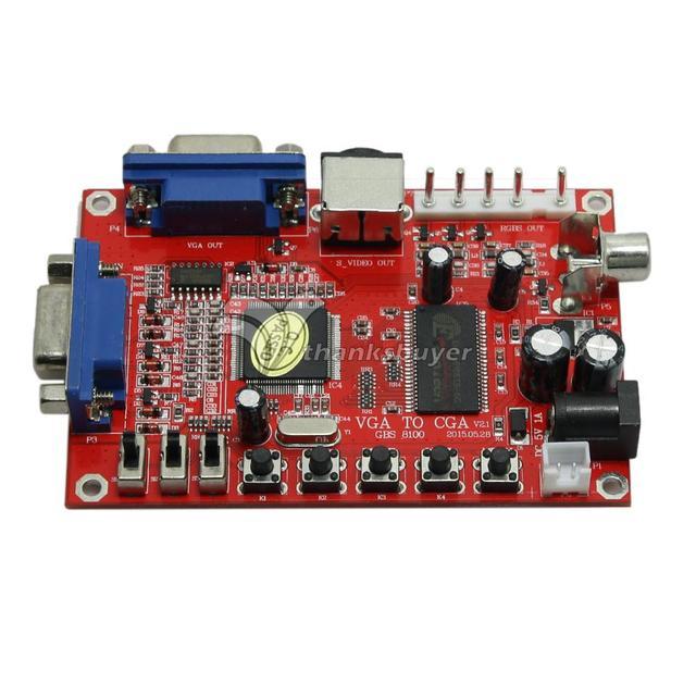 CVBS S-VIDEO Conversor de Alta Definição GBS-8100 VGA para a CGA Arcada Jogo Video Converter Board para PDP CRT LCD Monitor