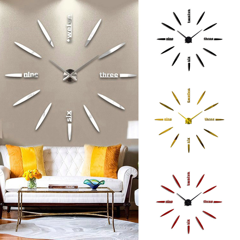 Modern Large 3d Diy Mirror Surface Art Wall Clock Sticker