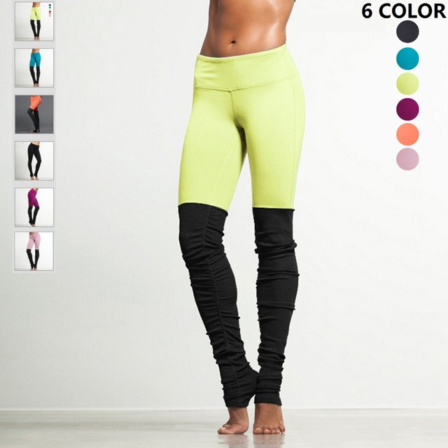 07b5b906e7b66 JIGERJOGER Women's Yoga Pants Plus Size Neon Yellow VS Black Patch wrinkled  Folded High waisted Quick Dry Outfits Workout Pant