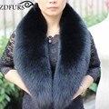 ZDFURS * venda Quente super grande Gola de Pele De raposa preta para jaqueta de roupas de lã Natural pele de raposa Cachecol big size Mulheres ZDC-163011