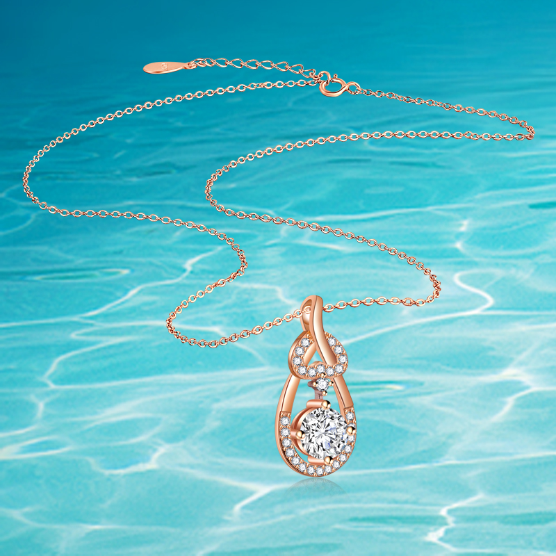 Luxury zircon real 925 sterling silver water drop pendant necklace, fashion accessories women fine jewelry gold charm necklace