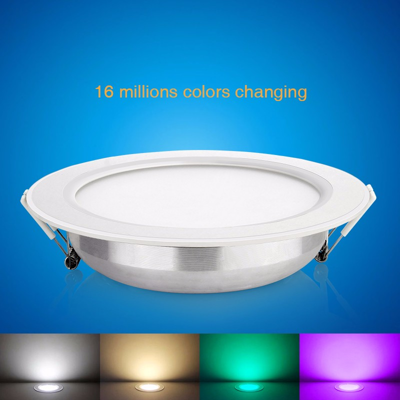 BLYN 6W 12W RGBW CCT LED Downlight Lamp Mi light FUT066 FUT068 Dimmable RGBW Round Panel Light Wireless Control Ceiling Bulb mi light 2 4g 1pcs lot 12w led downlight remote rf control wireless bulb lamp white warm white down light 85 265v