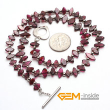 4X8MM Eye Shape Natural Garnet Stone Necklace 16 5 Inches font b Birthstone b font Of