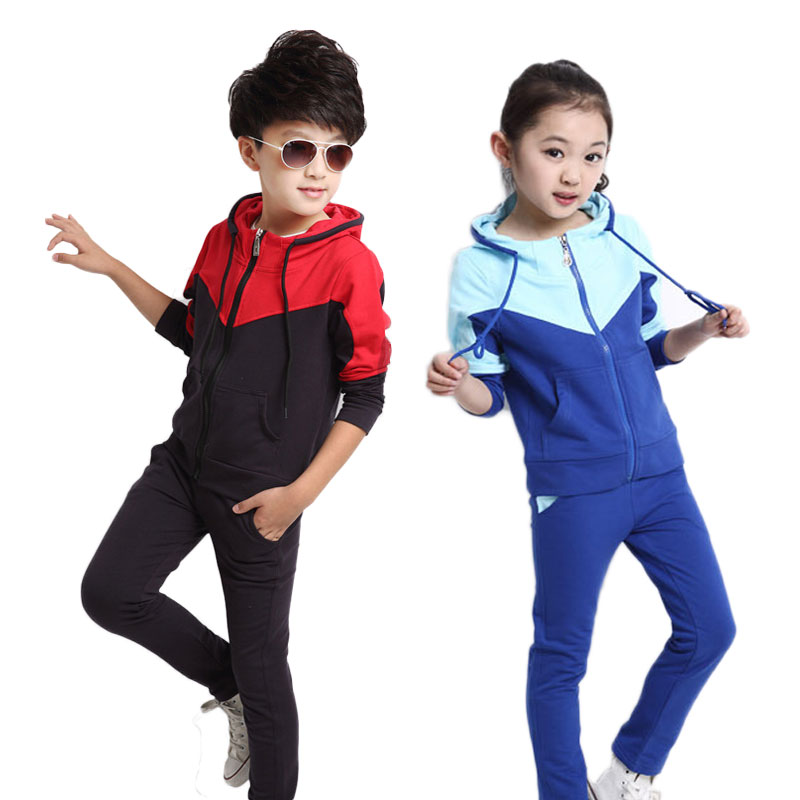 97c73078 Long Sleeve Girls Clothing Set 3-14 Years Kids Tracksuit Children Sport Suit  For Boys Teenage Clothes Sets Baby School Uniform