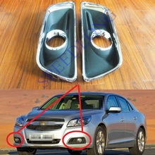 2 Pcs/Pair RH and LH Front Bumper Fog Light Covers with chromed frame for Chevrolet Malibu 2013-2015