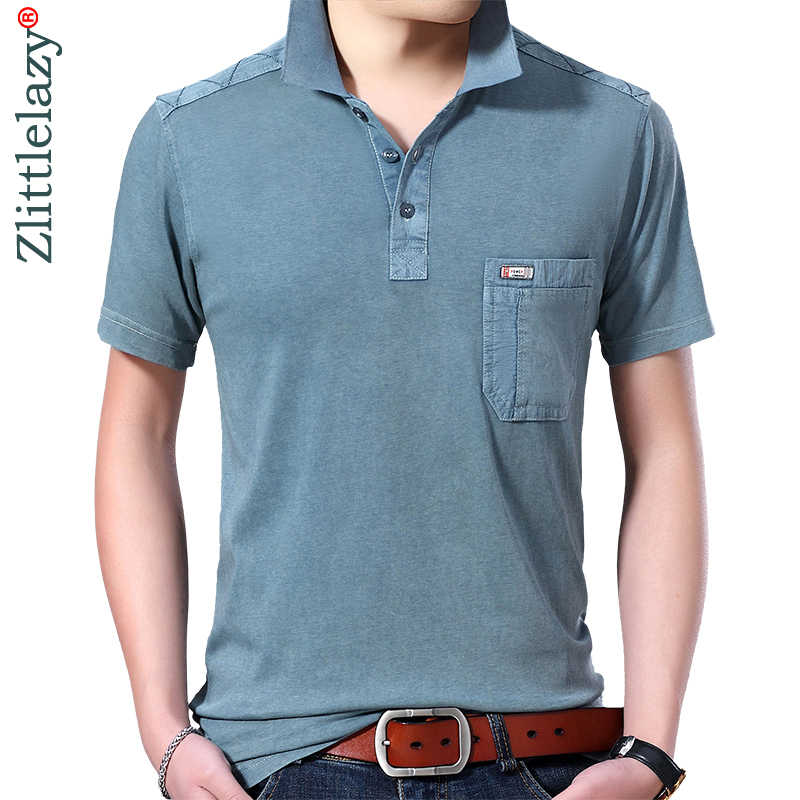 2019 marca verão casual sólidos manga curta camisa pólo homens poloshirt camisa bolso mens polos camisetas modas vestido 41614