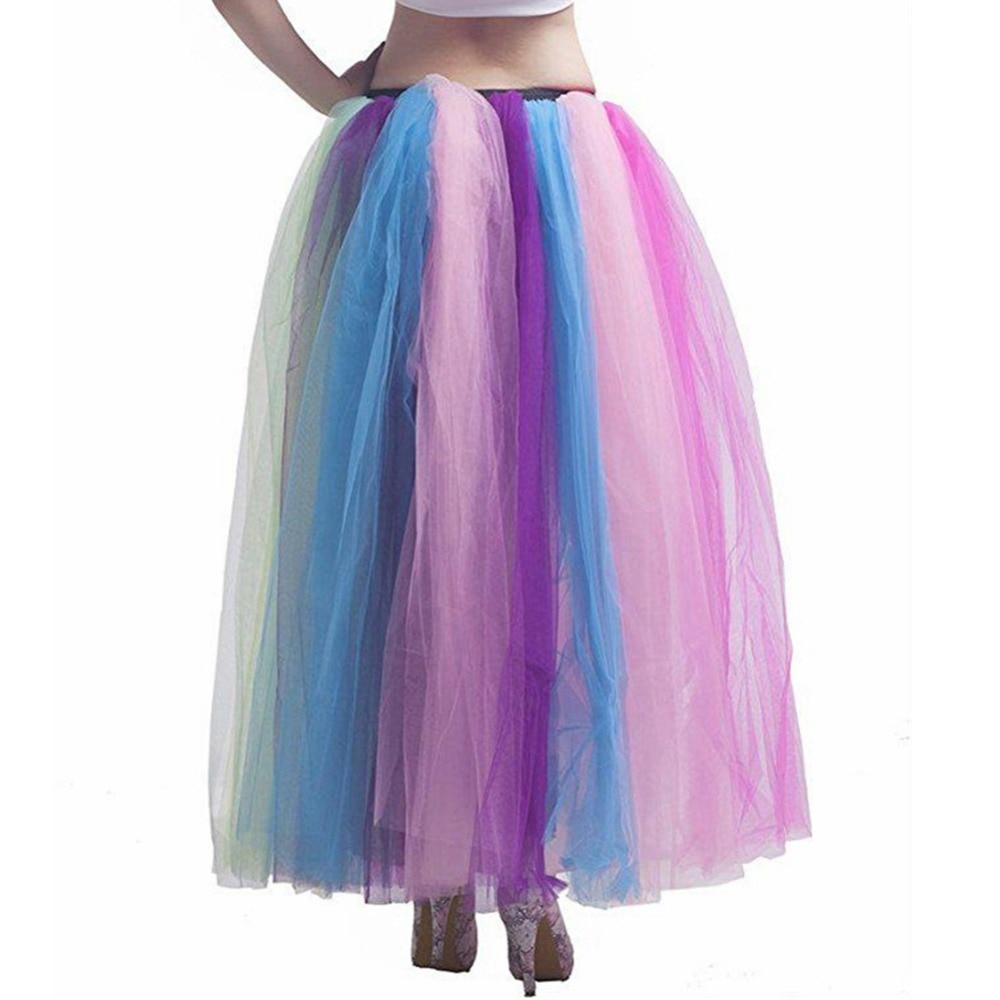 2019 Women Party Dance Petticoat Underskirt Puffy Tulle Rainbow Bridal Petticoat Crinoline