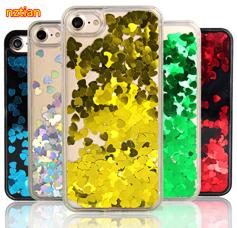For Apple iphone 7 Case Liquide Love Heart Glitter Quicksand For iphone 6S Case Hardcase PC Hard Plastic Transparent Cover Shell