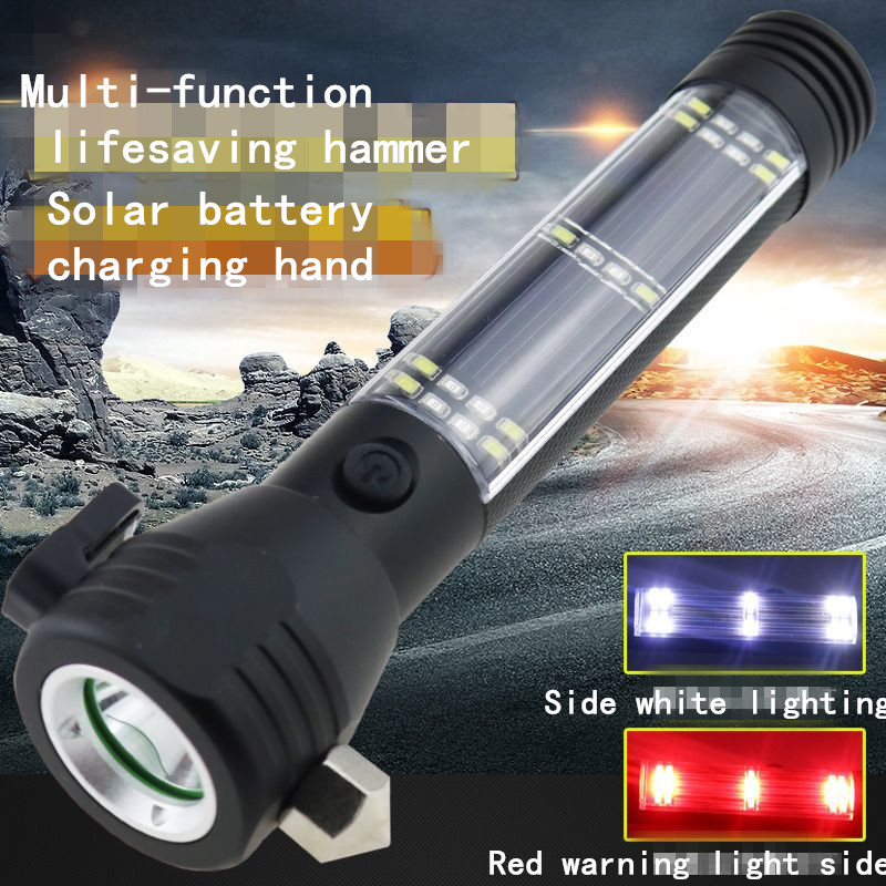 Solar rechargeable flashlight multi-function leds emergency self-defense safety escape safety hammer automotive supplies outdoor camping emergency light solar powered led flashlight self defense glare flashlight hammer torch light with power bank