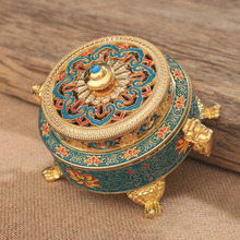 Collectibles Tibetan Style Painted Enamel Copper Alloy Coil Incense Burner Holder Sticks Buddhism Home Decor Metal Z294