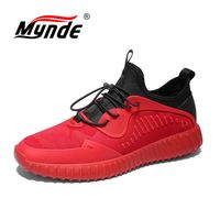 MYNDE 2018 New Sport Men Shoes Lace Up Running Sneakers Red Gray Jogging Shoes For Men