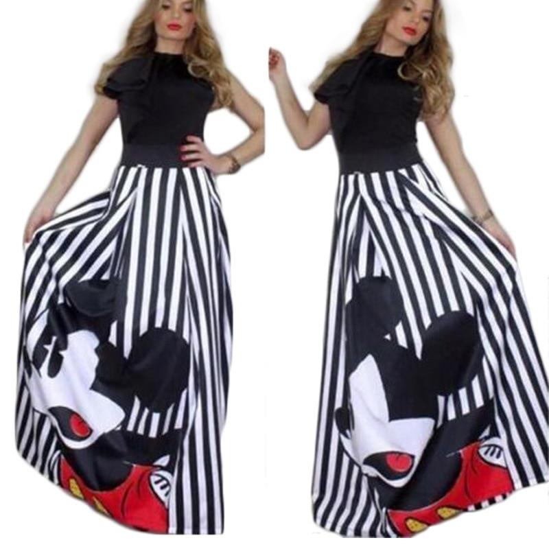 Fashion Mickey Maxi Long Skirt Women 2019 Striped Long Elastic High Waist Kawaii Female Elegant Pleated Printed cartoon Skirts юбка с микки маусом женская