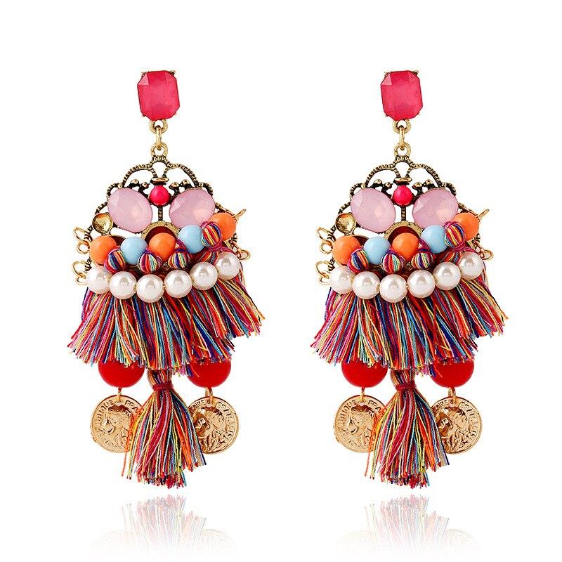 Fashion pendant vintage women earring pearl tassel drop earrings ...