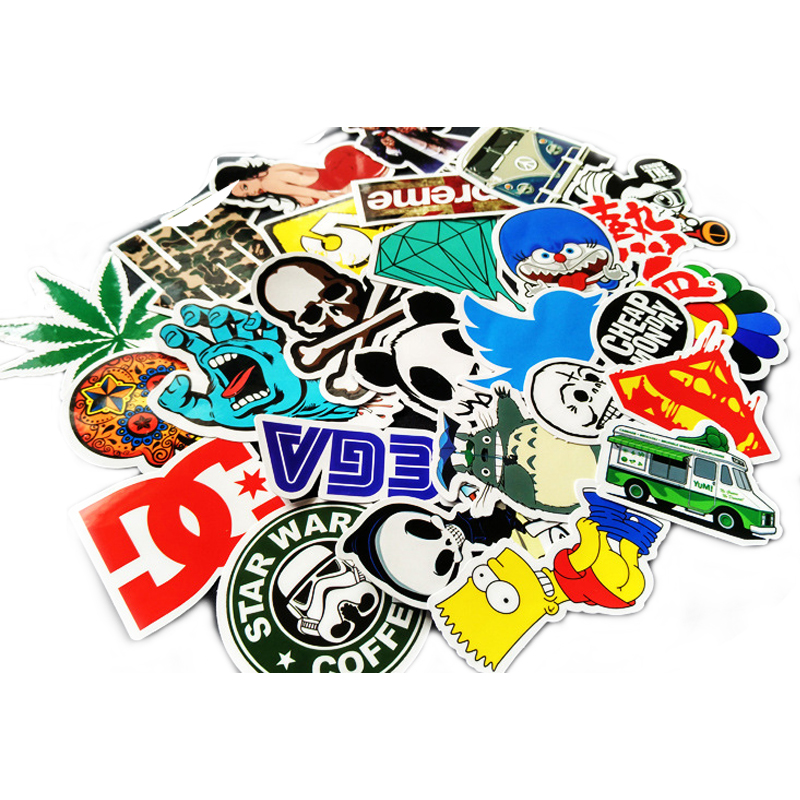 100pcsDecal Not Repeat Square Glossy Lamination Sticker Fixed Style Waterproof Luggage Fridge Motorcycle Car Fashion Stickers# C