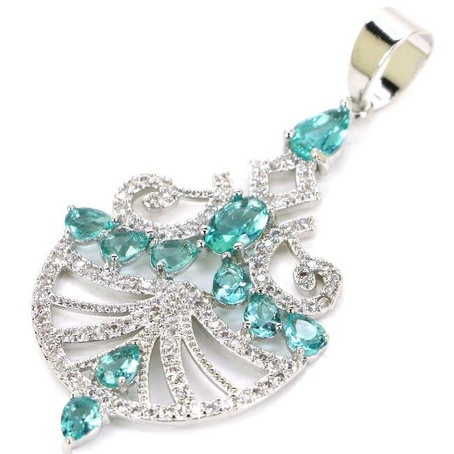 New Designed Rich Blue Aquamarine CZ SheCrown Wedding Gift 925 Silver Pendant 48x29mm
