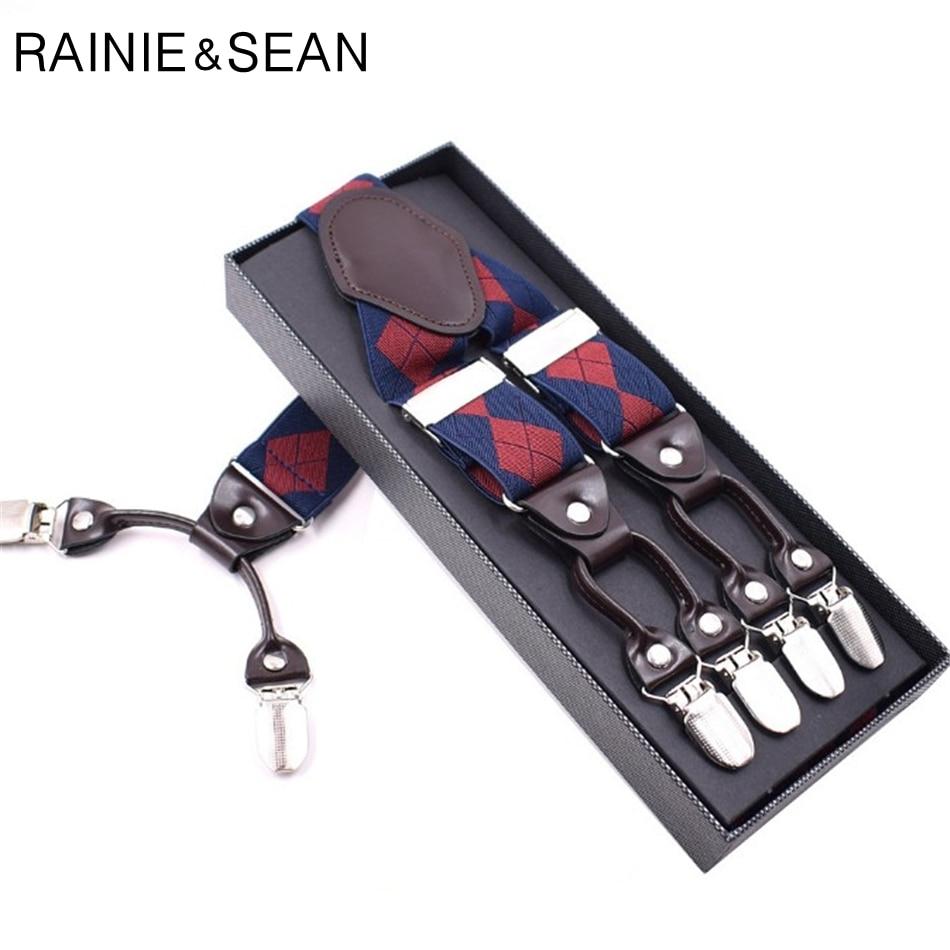 RAINIE SEAN British Style Suspenders For Shirts Men Audlt Plaid Mens Trouser Braces 6 Clips Y Back Wedding Brand Male Suspenders