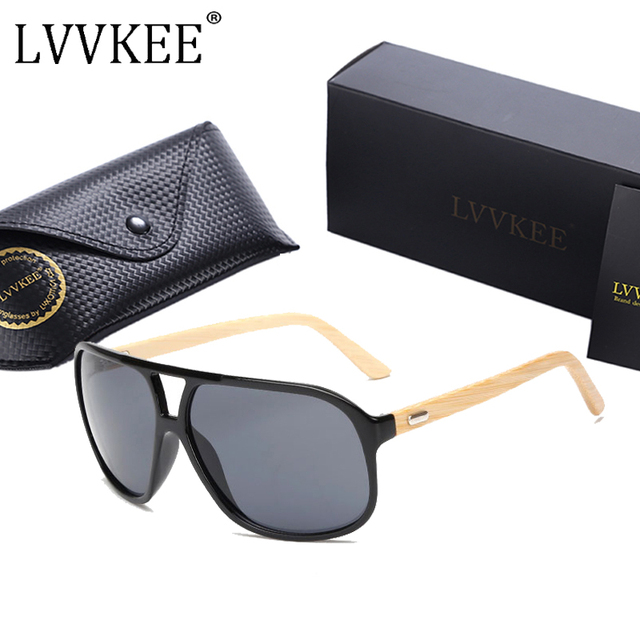 4ebb09b224c LVVKEE 2017 New bamboo sunglasses Women Men wooden big size sun glasses  Goggles UV400 eyewear Outdoors sports Oculos masculino