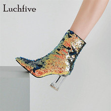 Fashion sequined cloth women booties high heels sexy pointed toe classic zipper female shoes ankle boots women black white green
