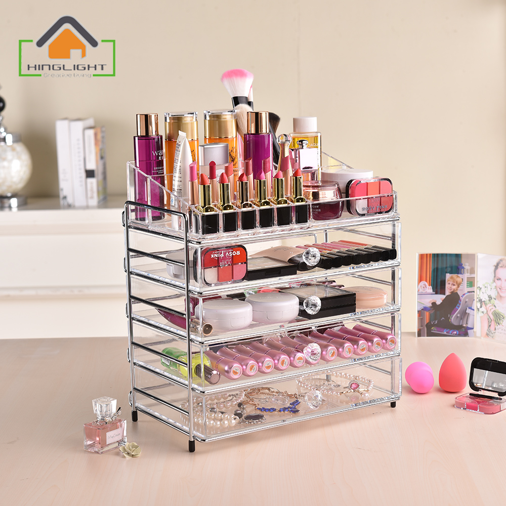 Multi storey metal frame drawer storager rack Acrylic Box Clear Makeup  Stand Case Cosmetic Organizer Case Holder Clear XFL506 9-in Storage Boxes &  Bins from ...