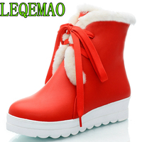 Black Warm Winter Shoes Women Flat Heels Plush Inside Platform Cheap Cotton Snow Boots For Winter Lacing Good Quality