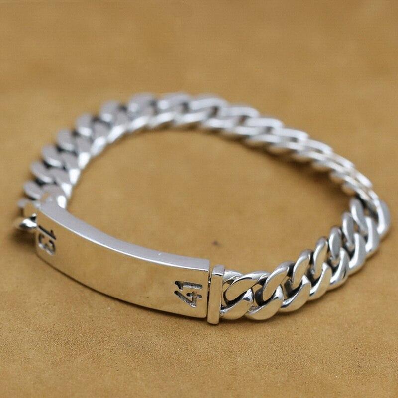 Bracelet en argent Sterling 925 10mm solide lien chaîne Thai argent Vintage fait main bijoux Punk Rock ancre Bracelet pour homme S109