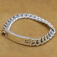 Sterling 925 Silver Bracelet 10mm Solid Link Chain Thai Silver Vintage Handmade Jewelry Punk Rock Anchor Bracelet for man S109
