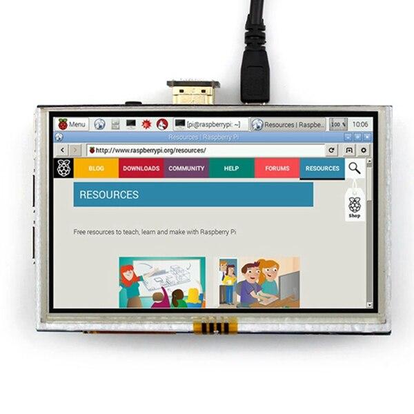 """5 pouces 800x480 écran tactile LCD 5 """"affichage pour banane Pi framboise Pi 2 framboise Pi 3 modèle B/B + et framboise 4B"""