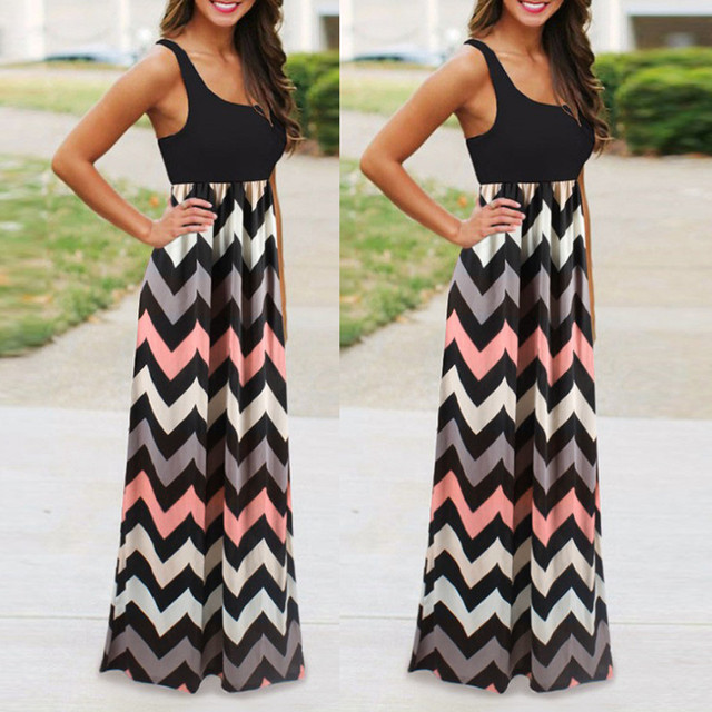 2019 Summer Women Dress Striped Design Long Boho Dress Lady Sleeveless Beach Summer Sundrss Maxi Dress Female Sexy Clothing
