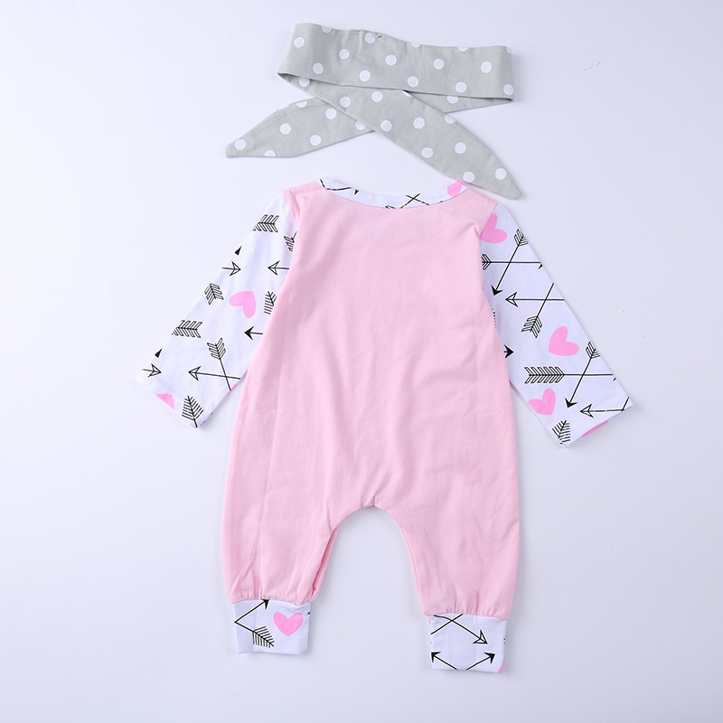 2018 Spring Autumn Baby Girl Romper Long sleeves Arrow For Love Baby girls 2pcs set jumpsuit+ Headband Baby girls clothing