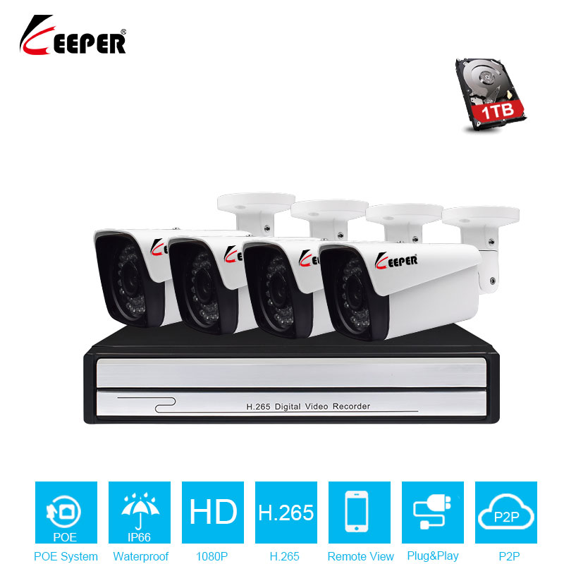 Keeper 2CH 1080P HDMI POE NVR CCTV System 2MP Outdoor IP66 IP Camera P2P Onvif Security Surveillance Kit Motion Detect APP View