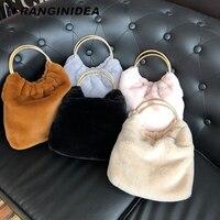 Rabbit Fur Women Handbags Faux Fur Winter Tote Bags for Women Fashion Large Capacity Female Handbag Women's Winter Bag