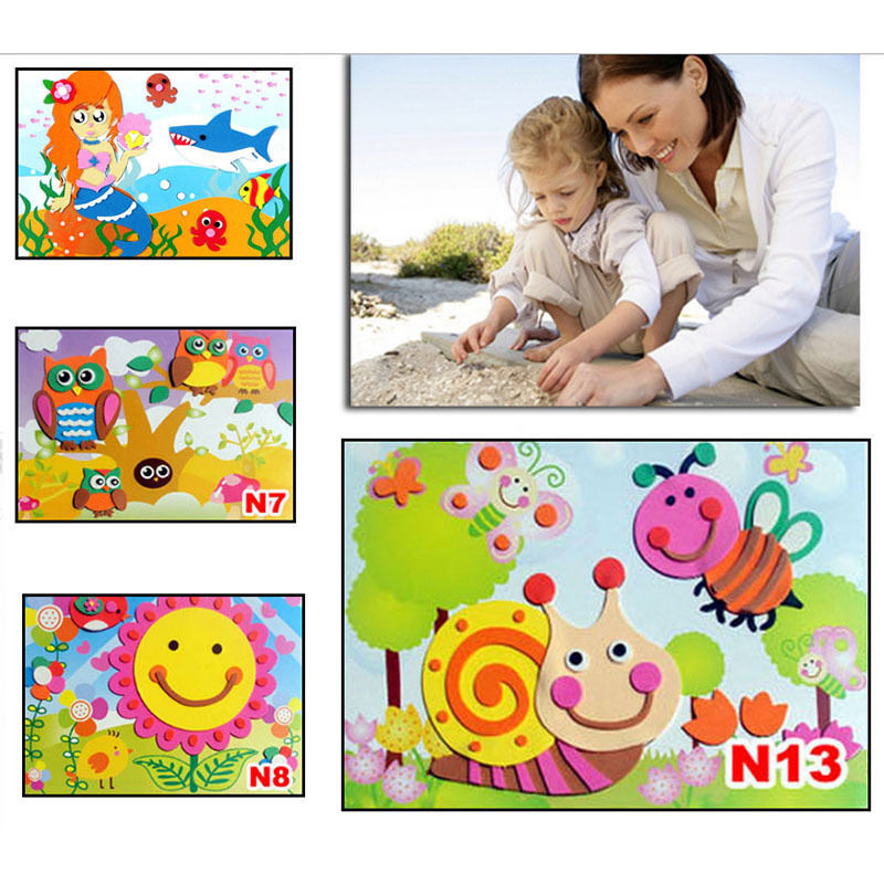 3D Eva Foam Puzzles Stickers Self-adhesive Crafts Children Baby Toys DIY Handmade Baby Kids Learning Education Toy 18.5cm*26cm