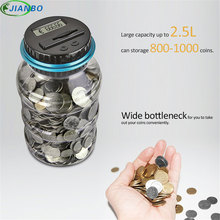 цена на Digital Money Transparent Key Safe Box Jar Intelligent Electronic LCD Coin Counting Plastic Piggy Bank Saving Money Security Box