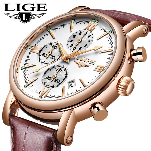 WISHDOIT 2019 LIGE Watches Top Brand Luxury Gold Leather