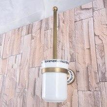 Montaje en la pared Retro Vintage latón antiguo baño cepillo soporte Set baño accesorio simple Taza de cerámica mba785