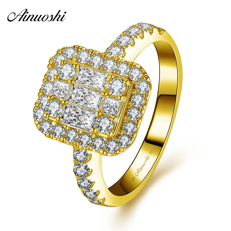 AINUOSHI 10k Solid Yellow Gold Rectangle Halo Ring Woman Wedding Engagement Jewelry Luxurious Bridal Band Fine Shinning CZ RingAINUOSHI 10k Solid Yellow Gold Rectangle Halo Ring Woman Wedding Engagement Jewelry Luxurious Bridal Band Fine Shinning CZ Ring