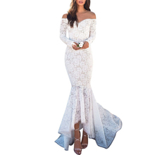f06012eabbd3 Fashion Women Lace Off Shoulder Fish Tail Long Dresses Elegant V Neck Long  Sleeve Party Dress
