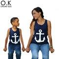 Camiseta Mãe e Filho mãe E Filha Roupas Âncora de Proa t-shirt para a família combinando clothing 2017 novo sem mangas mãe do bebê roupas
