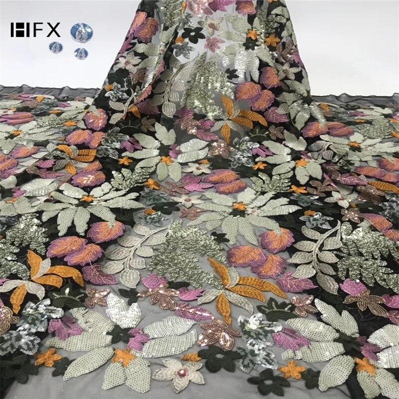 HFX ostatnie afryki cekiny koronki tkaniny pomarańczowy cekinami wieczór Party sukienki materiał indyjski Tissu czarna siatka tiul koronki netto w Koronka od Dom i ogród na  Grupa 2