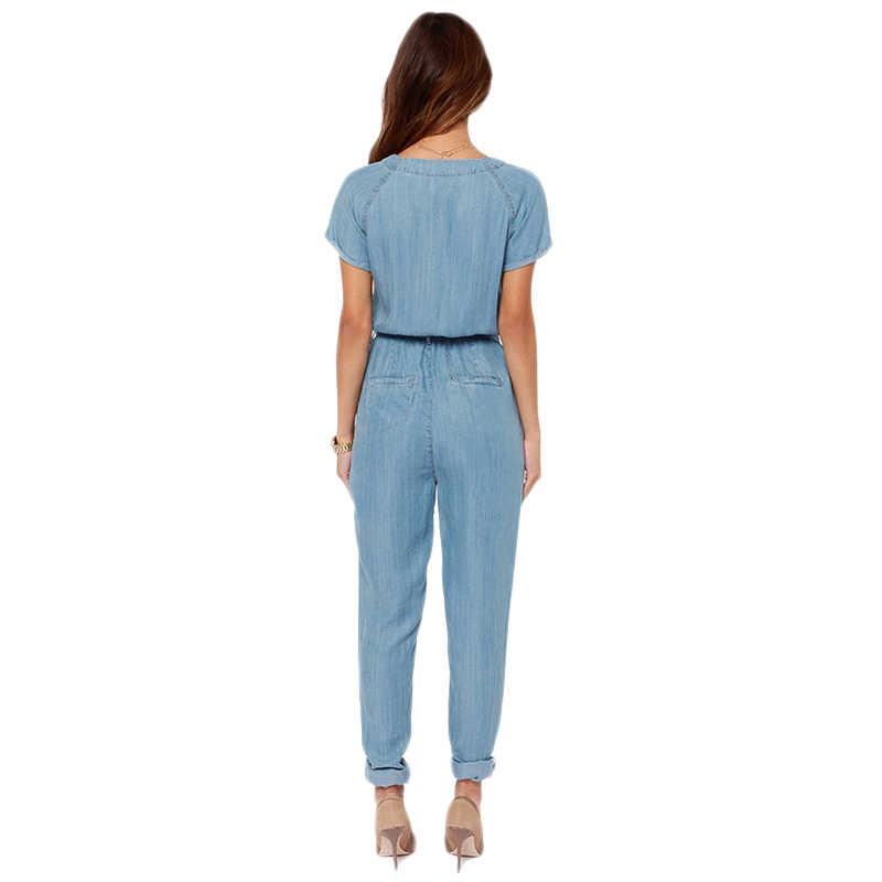 HYH Haoyihui бренд 2018 женские синие с v-образным вырезом с завязкой на талии джинсовые тонкие пуговицы с коротким рукавом женские элегантные повседневные Комбинезоны