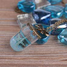 Vintage Mermaid Tears Shells Star Vial Necklace Shellhard Blue Sea Ocean Glass Wish Bottle Necklaces & Pendants Jewelry(China)