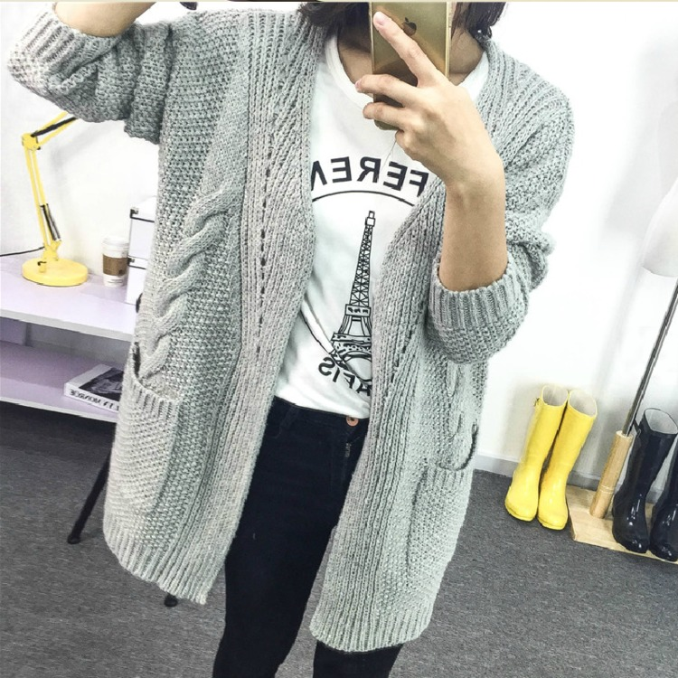 2018 Winter Womens Thick Knitted Loose Cardigan Female Hollow Long Sleeve Sweaters Cardigan Ladies Long Outerwear Coats Sweaters