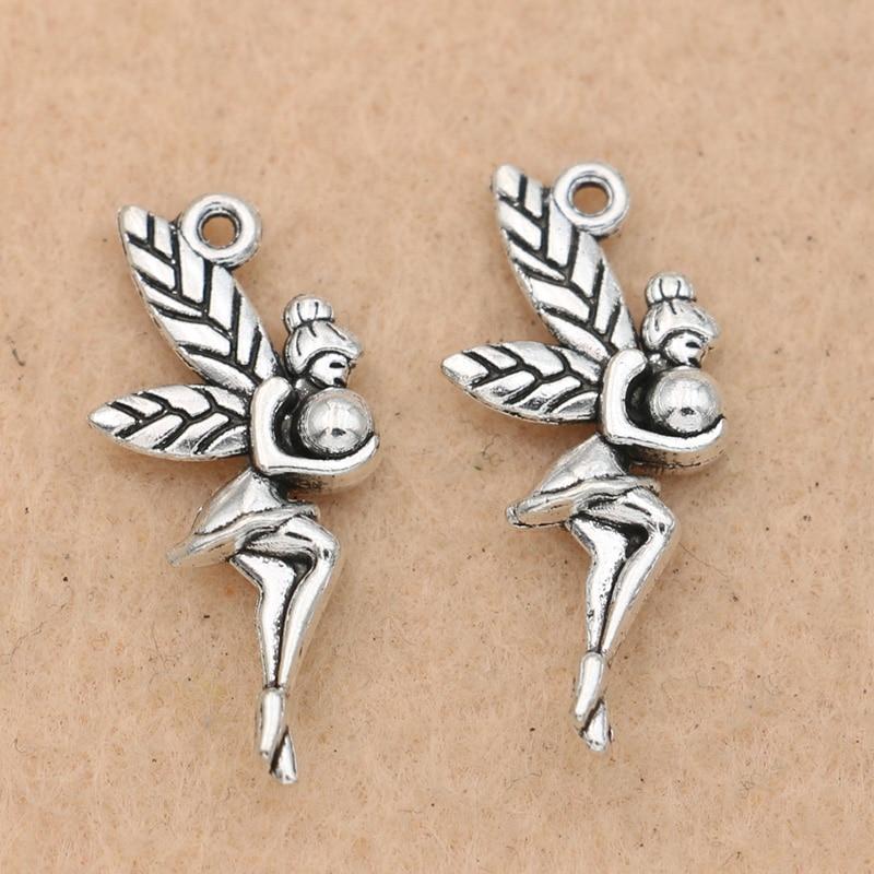 Wholesale 10Pcs Tibet Silver Moon Fairy Charm Pendant Beaded Jewelry