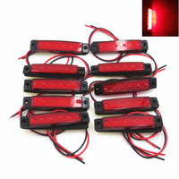 10x 6 LED Red Clearence Truck Bus Trailer Side Marker Indicators Light Lamp 12V